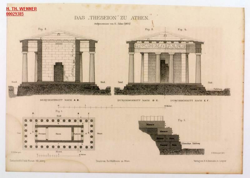 Athen Theseion Aufgenommen Ziller Tempel Hephaistos Hephaisteion Durchschnitte Grundriss Schnitt Darstellungen Stahlstich